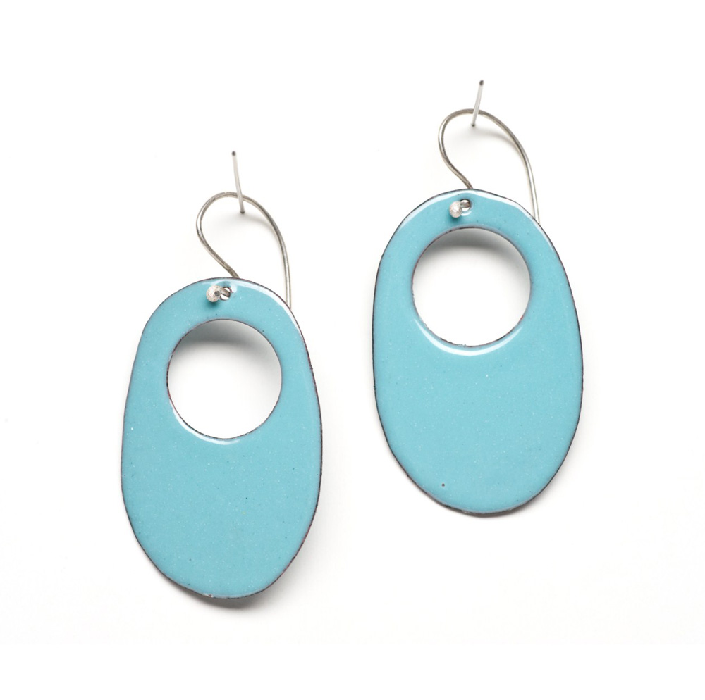 retro oval enamel hoop earrings