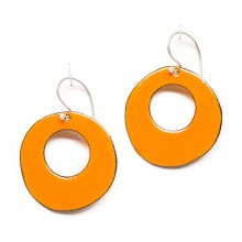 Retro Round Enamel Hoop Earrings