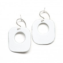 Retro Square Enamel Hoop Earrings